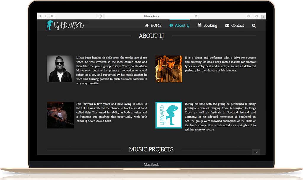 LJ Howard Homepage on MacBook